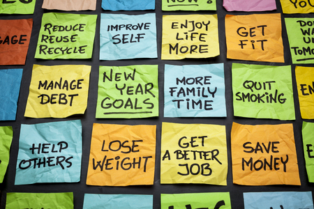 quit: popular new year goals or resolutions - colorful sticky notes on a blackboard Stock Photo