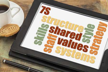 culture: 7S model for organizational culture, analysis and development (skills, staff, strategy, systems, structure, style, shared values) - text on digital tablet screen with a cup of coffee
