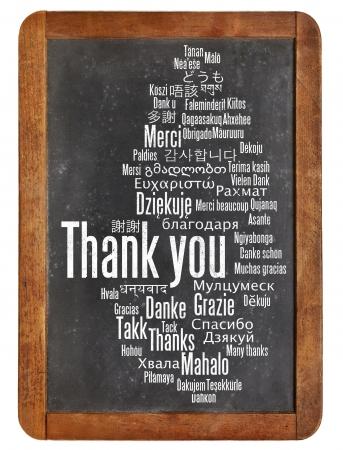 dank u: dank je wel in verschillende talen - woordwolk op een vintage lei schoolbord Stockfoto