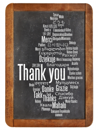 thank you in different languages - word cloud on a  vintage slate blackboard photo