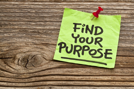 find your purpose  - motivational reminder - handwriting on sticky note against grained wood Stock Photo - 24634831