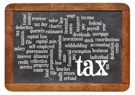 cloud of words or tags related to paying taxes on a  vintage slate blackboard Stock Photo - 24634858