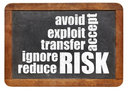risk management strategies - ignore, accept, avoid, reduce, transfer and exploit - word cloud on a vintage slate blackboard Stok Fotoğraf