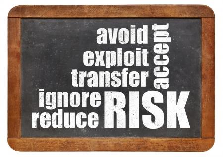risk management strategies - ignore, accept, avoid, reduce, transfer and exploit - word cloud on a vintage slate blackboard Banco de Imagens