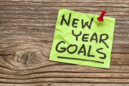 New Year goals - handwriting on a sticky note against grained wood Stock Photo - 24692888