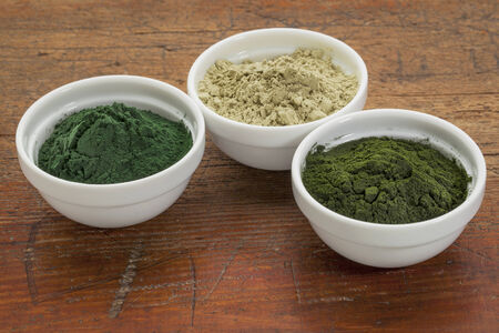 kelp, chlorella and Hawaiian spirulina powders - nutritional supplements from a sea - ceramic bowls against grunge wood Stock Photo - 24692889