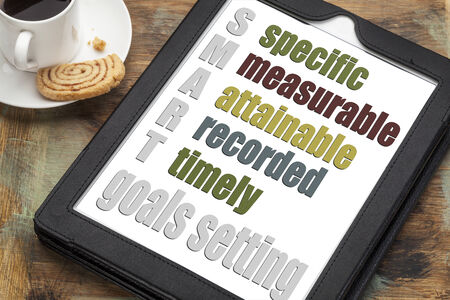 SMART (specific, measurable, attainable recorded, timely) goal setting concept  on a digital tablet computer with  espresso coffee cup Stock Photo - 24692703