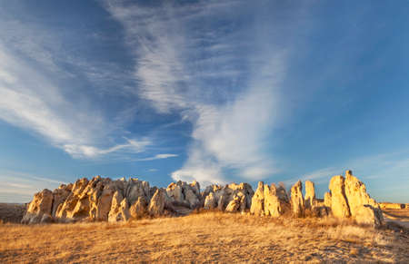 Natural Fort sculpted from sandstone (Oligocenne White River Formation) by erosion - geologic and historic landmark on Colorado prairie near Wyoming border Stock Photo - 24876213