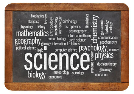 branches of science word cloud on a vintage slate blackboard Stock Photo - 24959910