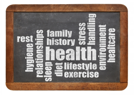 sleep well: health concept and word cloud on a vintage slate blackboard Stock Photo