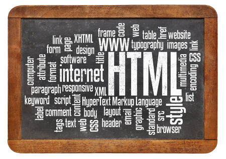 html (hypertext markup language) word cloud on a vintage slate blackboard photo