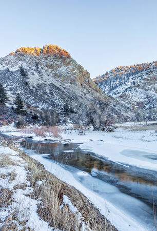eagle nest rock: winter sunset over Cache la Poudre River (North Fork) at Eagle Nest Open Space in northern Colorado near Fort Collins