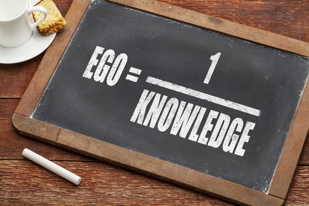 ego: ego = 1knowledge on a vintage slate blackboard with a chalk and cup of coffee