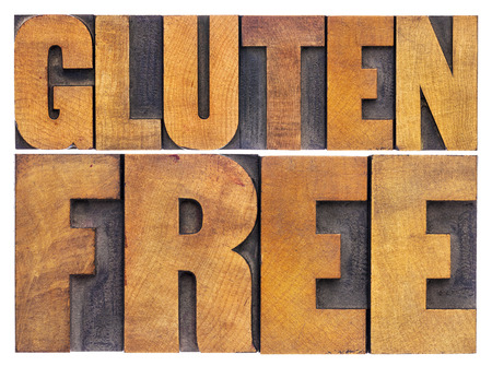 printing block: gluten free. dietary concept - isolated text in vintage letterpress wood type