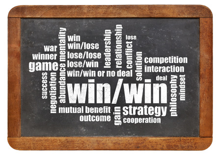 win-win strategy word cloud on a vintage slate blackboard isolated on white photo