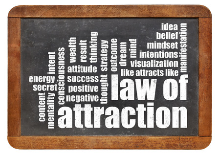 law of attraction word cloud on a vintage slate blackboard isolated on white photo