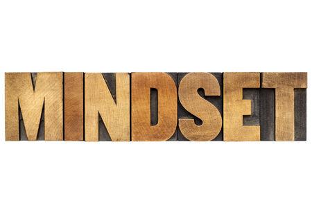 mindset - isolated word in vintage letterpress wood type blocks
