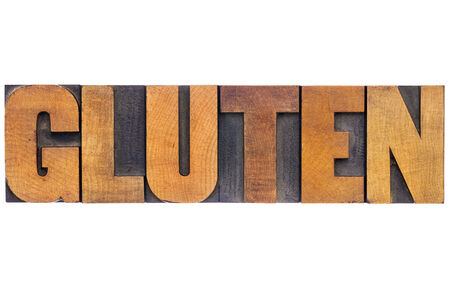 gluten word - isolated text in vintage letterpress wood type
