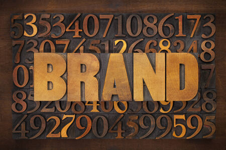 brand word in vintage letterpress wood type against number  photo