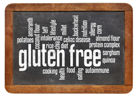 celiac disease: gluten free food word cloud on a vintage slate blackboard isolated on white