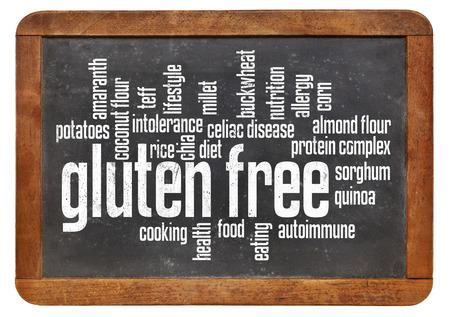 gluten free food word cloud on a vintage slate blackboard isolated on white