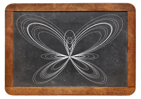 graphical display of a parametric function knows as a butterfly curve on a vintage blackboard photo