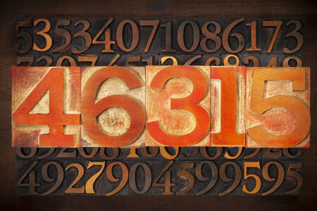 wood type: numerical abstract background - numbers in vintage letterpress wood type