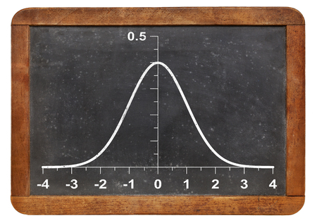 normal distribution: graph of Gaussian (bell) function l on a vintage blackboard - statistical concept