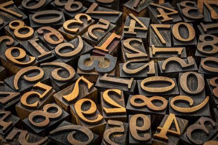 wood type: random number background - vintage letterpress wood type Stock Photo