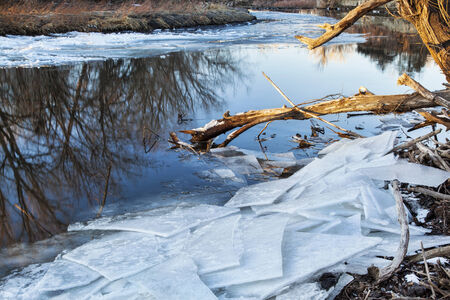 cache la poudre river: Cache la Poudre River in Fort Collins, Colorado, winter or early spring scenery with icy shores