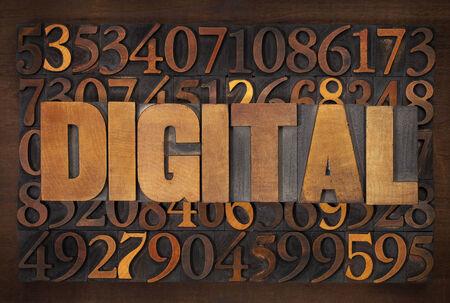 digital word in vintage letterpress wood type against random number background Stock Photo