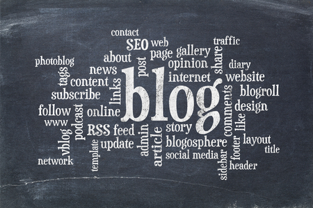 photoblog: cloud of words or tags related to blogging and blog design on a  vintage slate blackboard