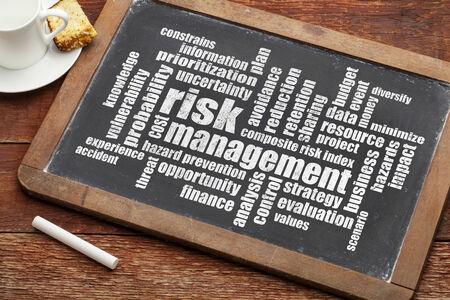 risicomanagement word cloud op een schoolbord