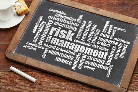 risk management word cloud on a blackboard Imagens