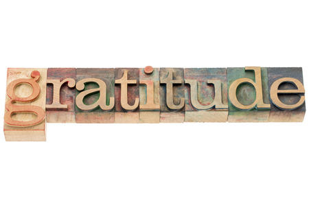 gratitude word - isolated word in letterpress wood type Stock fotó