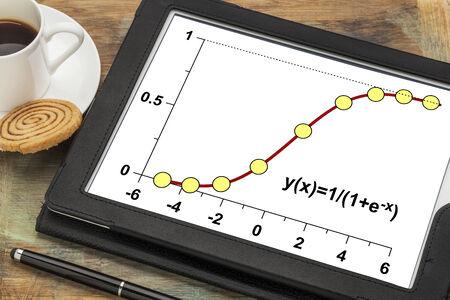 demografia: modelo de crecimiento limitado en una tableta digital con una taza de caf� - funci�n log�stica con aplicaciones en las estad�sticas, la ecolog�a, la medicina, la demograf�a y otras ciencias Foto de archivo