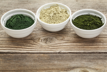 kelp: kelp, chlorella and Hawaiian spirulina powders - nutritional supplements from a sea - ceramic bowls against grained wood