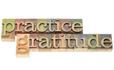 gratitudine: praticare la gratitudine - testo isolato in blocchi di stampa tipografica in legno tipo colorati con inchiostri a colori