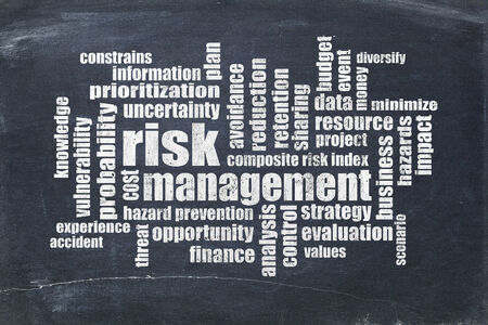 scenario: risk management word cloud on a slate blackboard Stock Photo