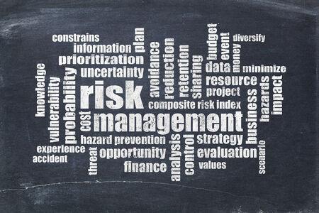reduce risk: risk management word cloud on a slate blackboard Stock Photo