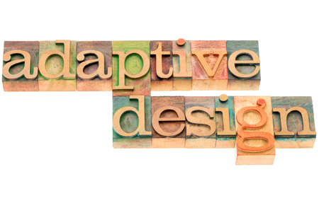 website words: adaptive design - website development concept - isolated text in letterpress wood type