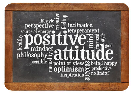 positive attitude concept - a word cloud on a vintage blackboard isolated on white photo