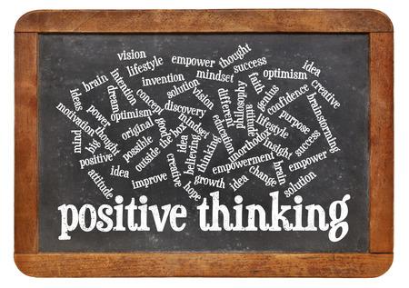 unorthodox: positive thinking word cloud on a vintage slate blackboard Stock Photo