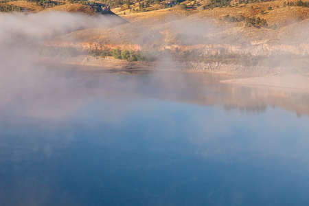 horsetooth reservoir: foggy morning on Horsetooth Reservoir near Fort Collins, Colorado. early fall Stock Photo