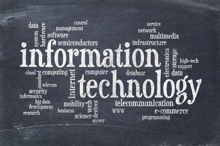 information technology word cloud on vintage slate blackboard Stock Photo
