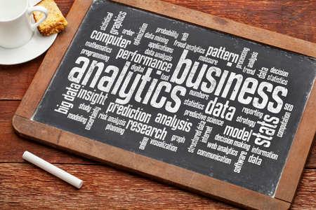 business analytics word cloud on a vintage slate blackboard photo