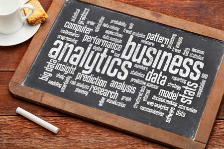 business analytics word cloud on a vintage slate blackboard