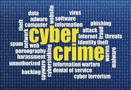 cybercrime: internet concept - cybercrime word cloud on a binary computer screen background Stock Photo