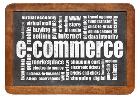 e-commerce word cloud on a vintage blackboard isolated on white photo