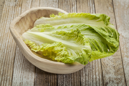 fresh leaves of romaine lettuce in a rustic wooden bowl Zdjęcie Seryjne